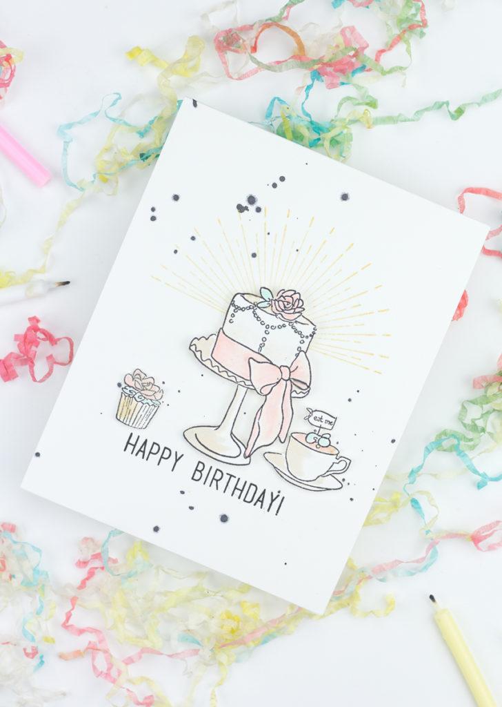 Tea And Cake Happy Birthday Card by Taheerah Atchia
