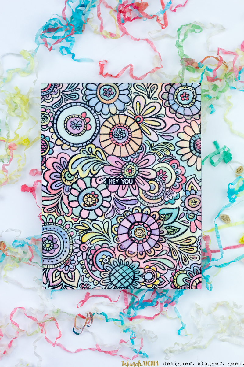 Hey You Doodle Flowers Card by Taheerah Atchia