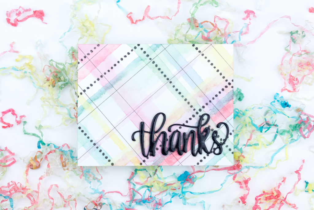 Rainbow Plaid Thanks Card by Taheerah Atchia