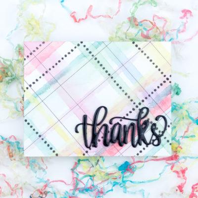Rainbow Plaid Thanks Card by Taheerah Atchia
