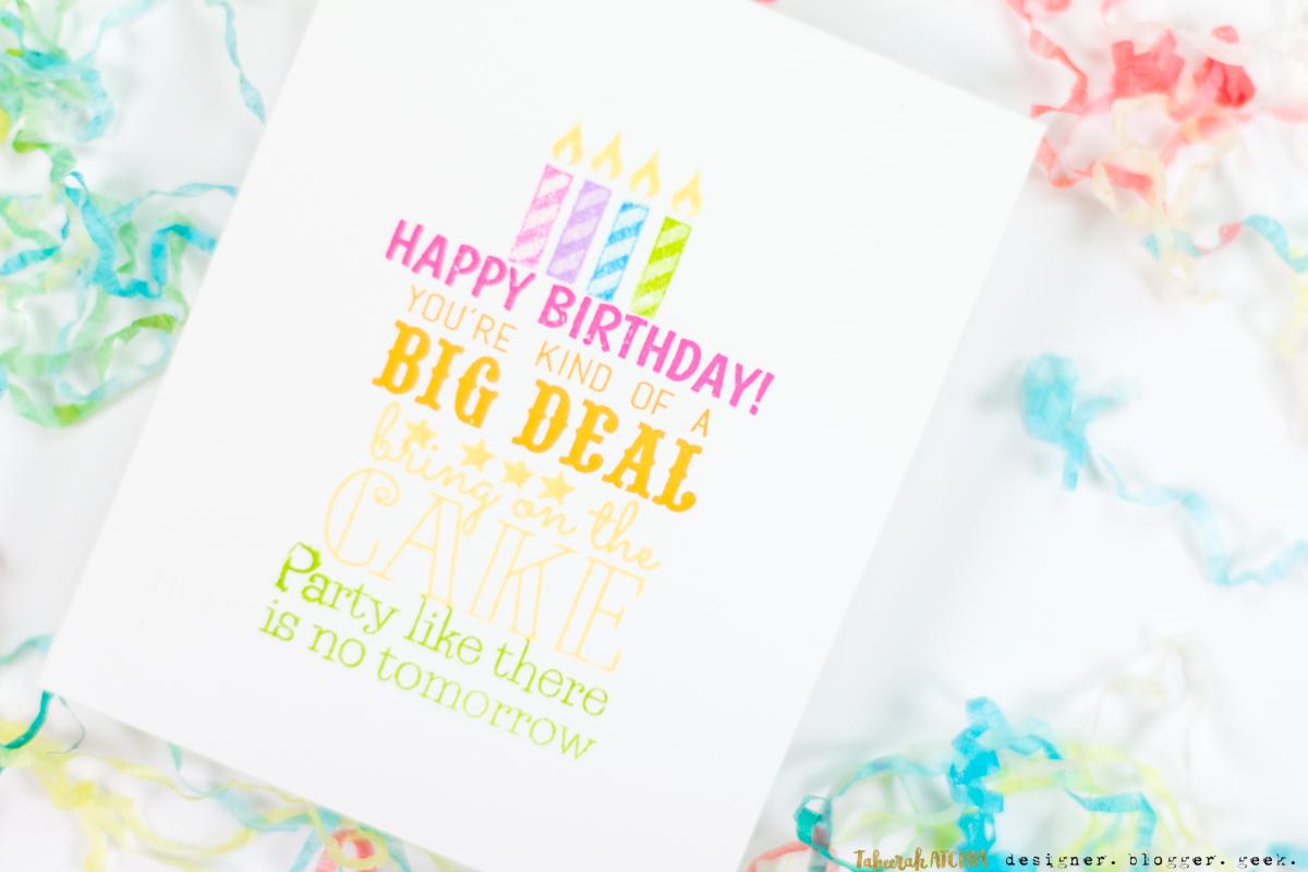 Sentiment Birthday Cake Card by Taheerah Atchia