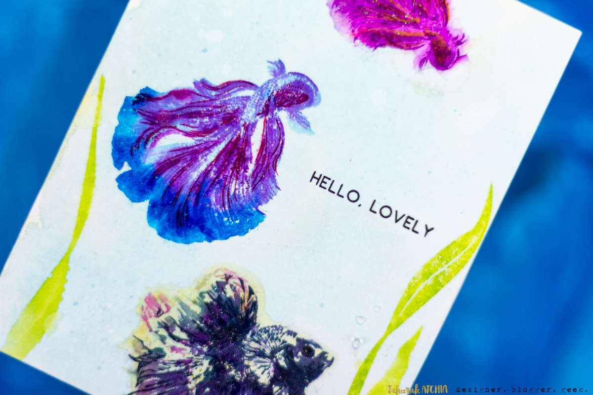 Hello, Lovely Siamese Fighting Betta Fish Card by Taheerah Atchia