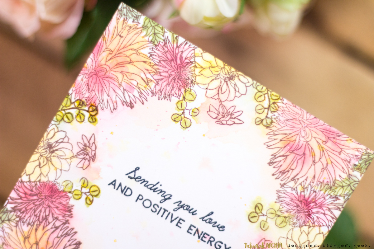 Sending You Love And Positive Energy Floral Card by Taheerah Atchia