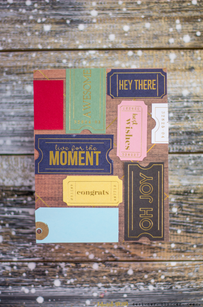 Spellbinders May Card Kit of The Month Cards - Tickets And Tags Card by Taheerah Atchia