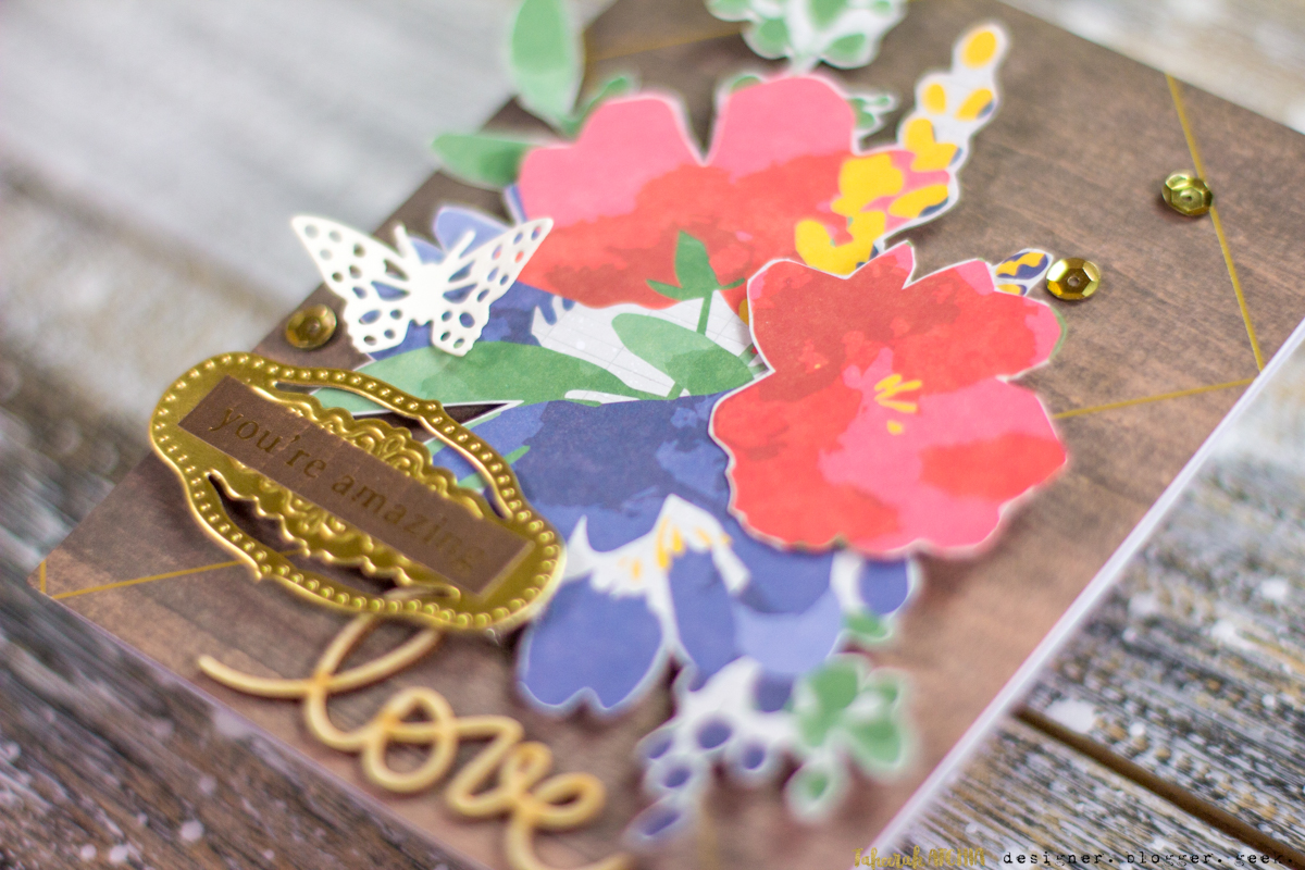 Spellbinders May Card Kit of The Month Cards - You're Amazing Love Floral Card Close-Up by Taheerah Atchia