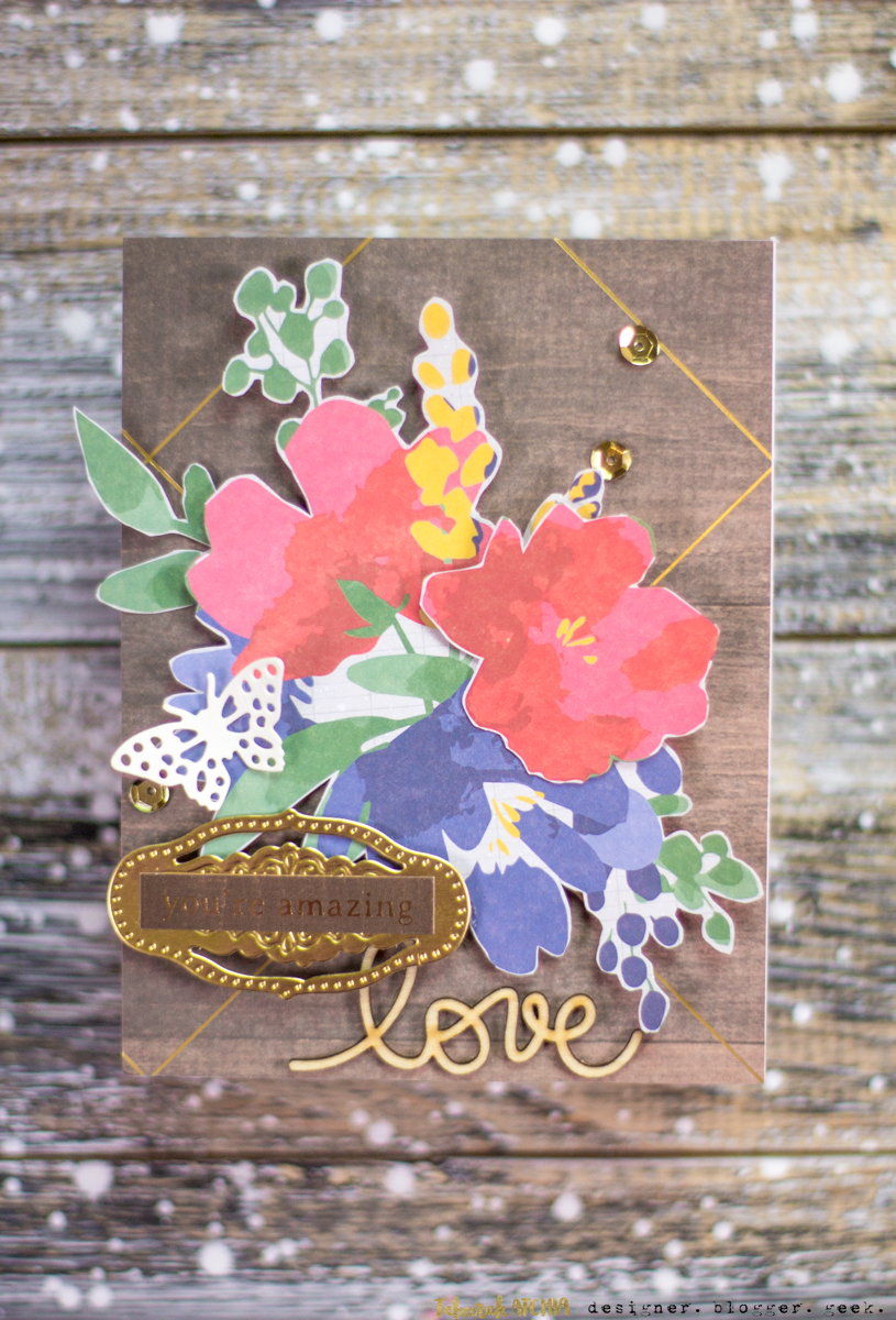 Spellbinders May Card Kit of The Month Cards - You're Amazing Love Floral Card by Taheerah Atchia