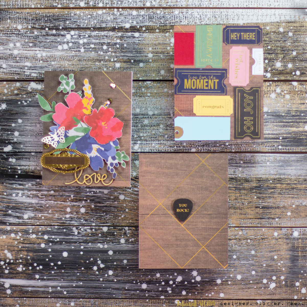 A Trio of Wooden Background Cards - Spellbinders May Card Kit of The